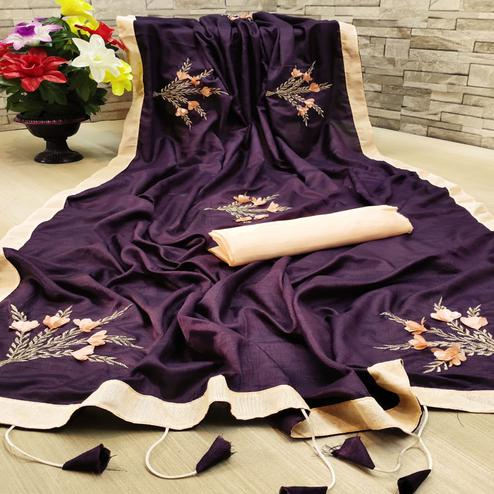 Majesty Dark Purple Colored Festive Wear Woven Dola Silk Saree
