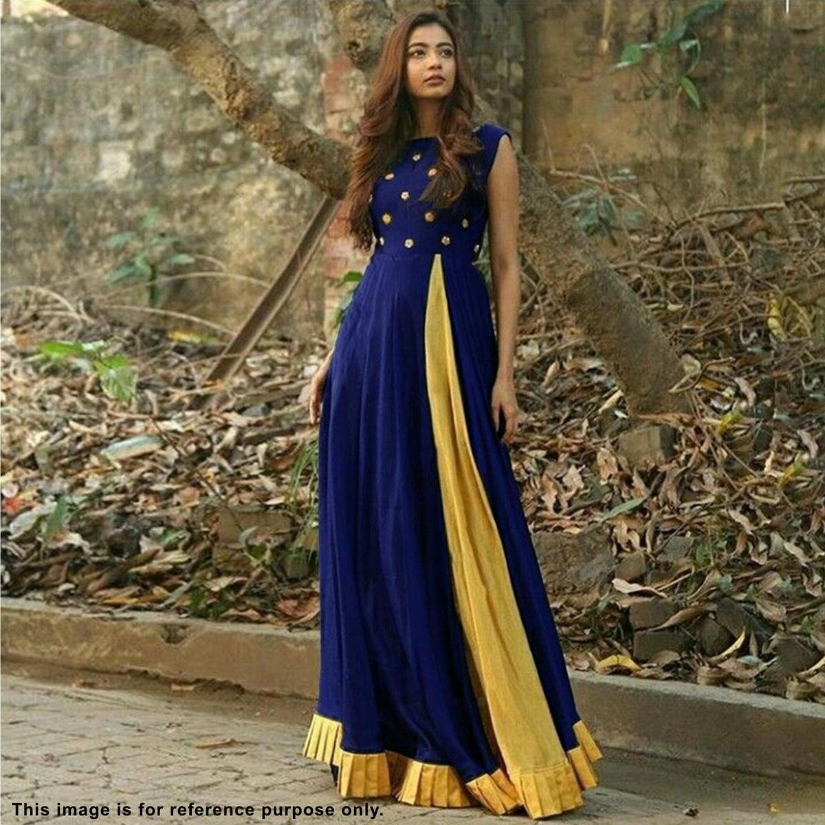 Desirable Navy Blue Cotton Slub And Chanderi Embroidered Gown Style Kurti