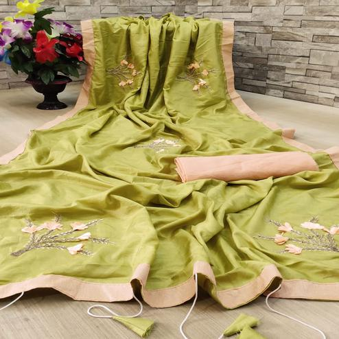 Impressive Green Colored Festive Wear Woven Dola Silk Saree