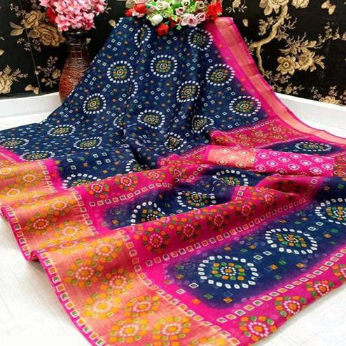 Radiant Navy Blue Colored Casual Wear Bandhani Digital Printed Pure Cotton Saree
