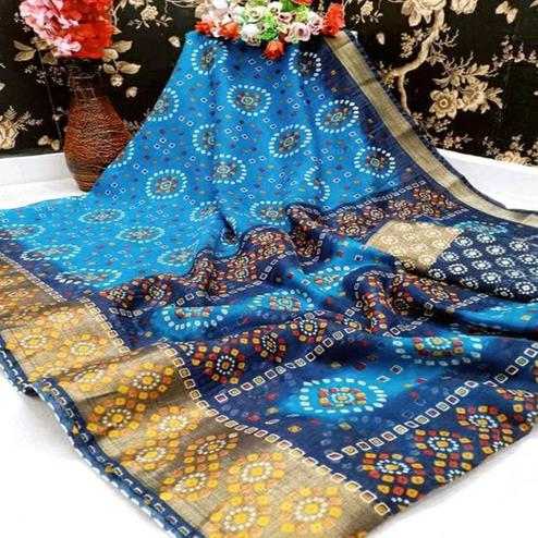 Opulent Sky Blue Colored Casual Wear Bandhani Digital Printed Pure Cotton Saree