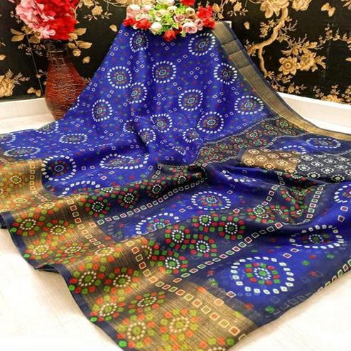 Energetic Blue Colored Casual Wear Bandhani Digital Printed Pure Cotton Saree