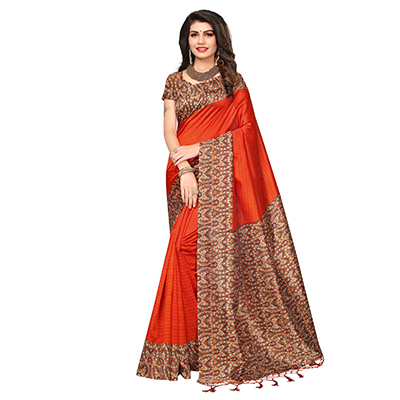 Orange Festive Wear Printed Art Silk Saree