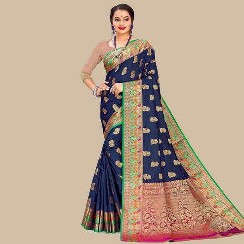 Refreshing Navy Blue Colored Festive Wear Woven Silk Saree