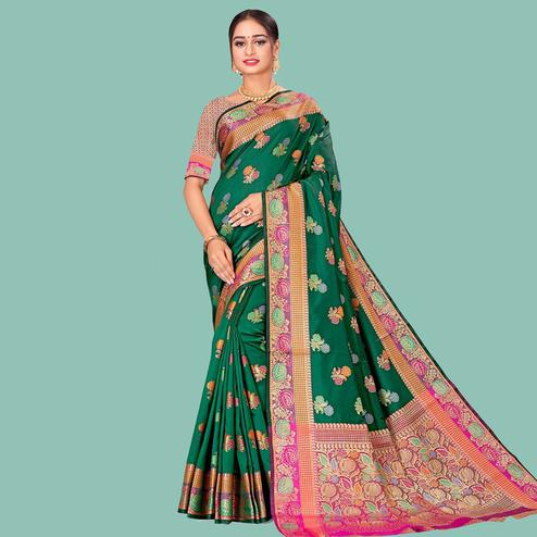 Magnetic Green Colored Festive Wear Woven Silk Blend Saree