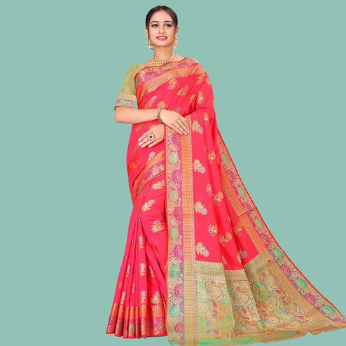 Hypnotic Pink Colored Festive Wear Woven Silk Blend Saree
