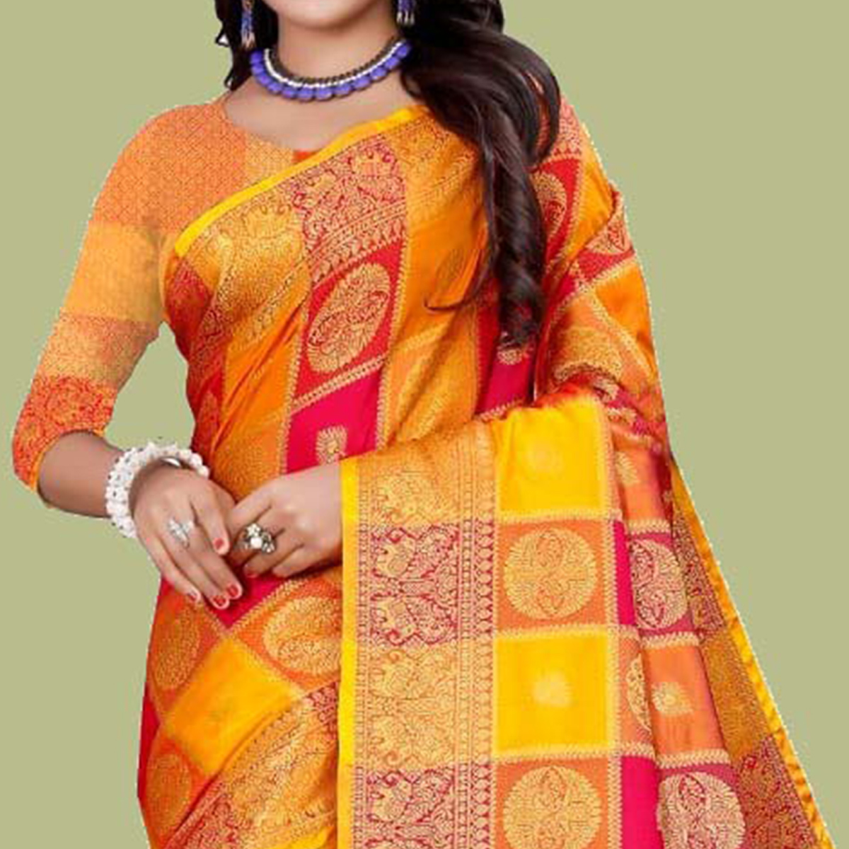 Stunning Yellow - Multi Colored Festive Wear Digital Printed And Woven Cotton Silk Saree