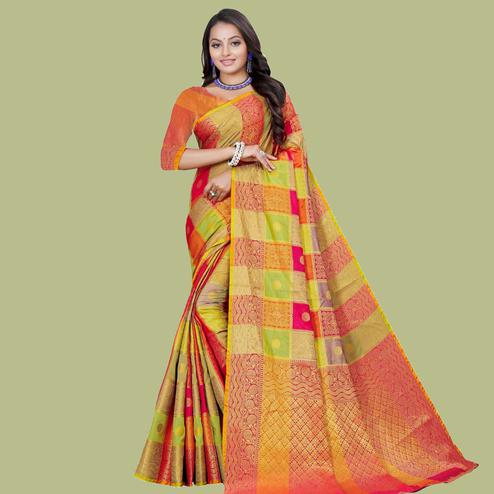 Flirty Pink - Multi Colored Festive Wear Digital Printed And Woven Cotton Silk Saree