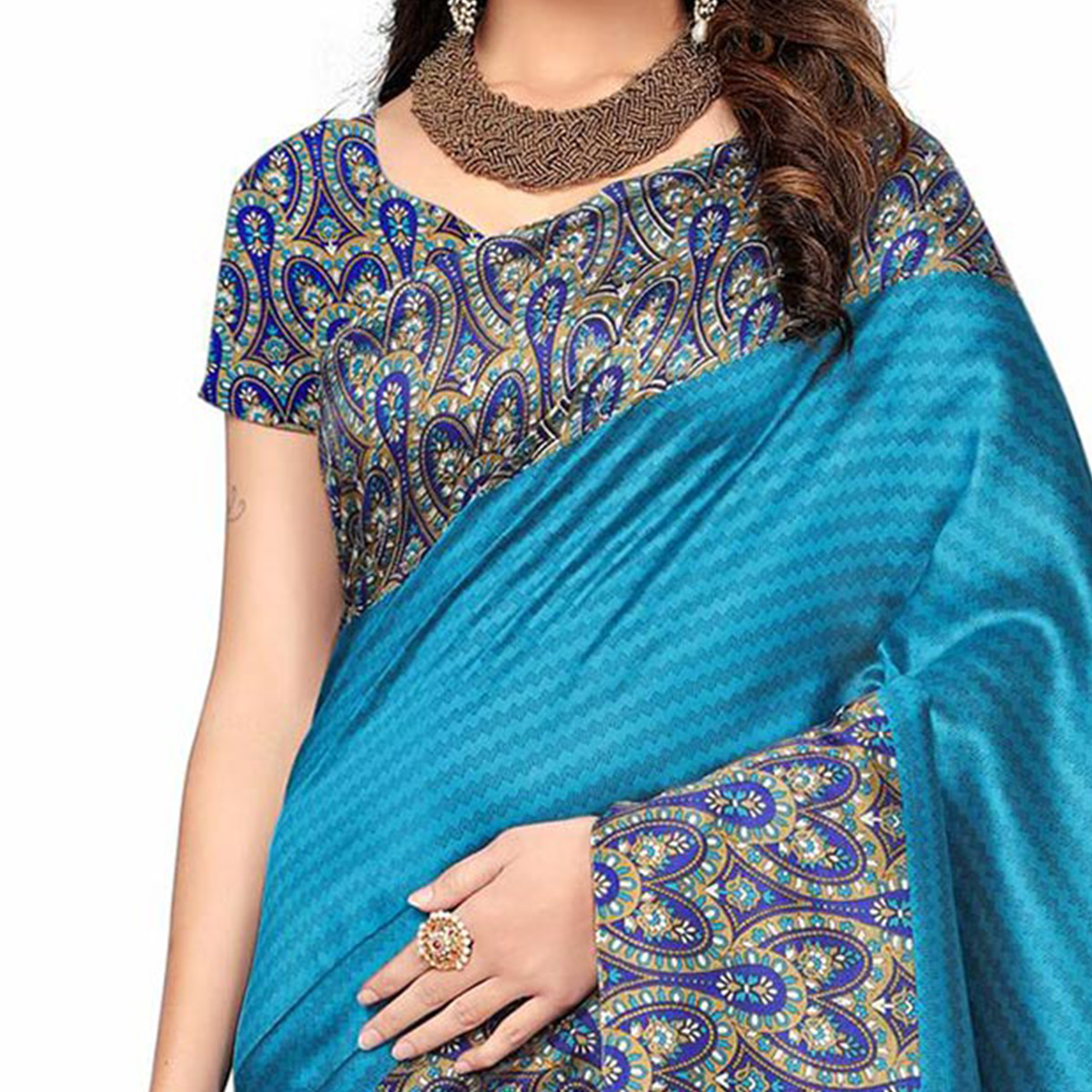 Blue Festive Wear Printed Art Silk Saree