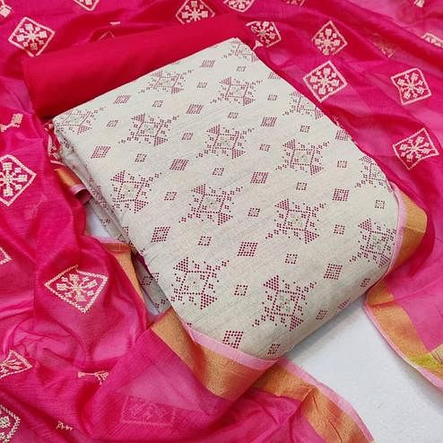 Capricious Beige - Rani Pink Colored Partywear Printed Khadi Cotton Dress Material