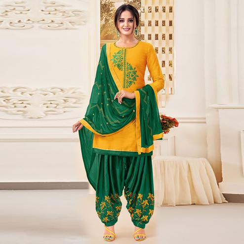 Adorable Yellow Colored Partywear Patiala Pure Cotton Silk Dress Material