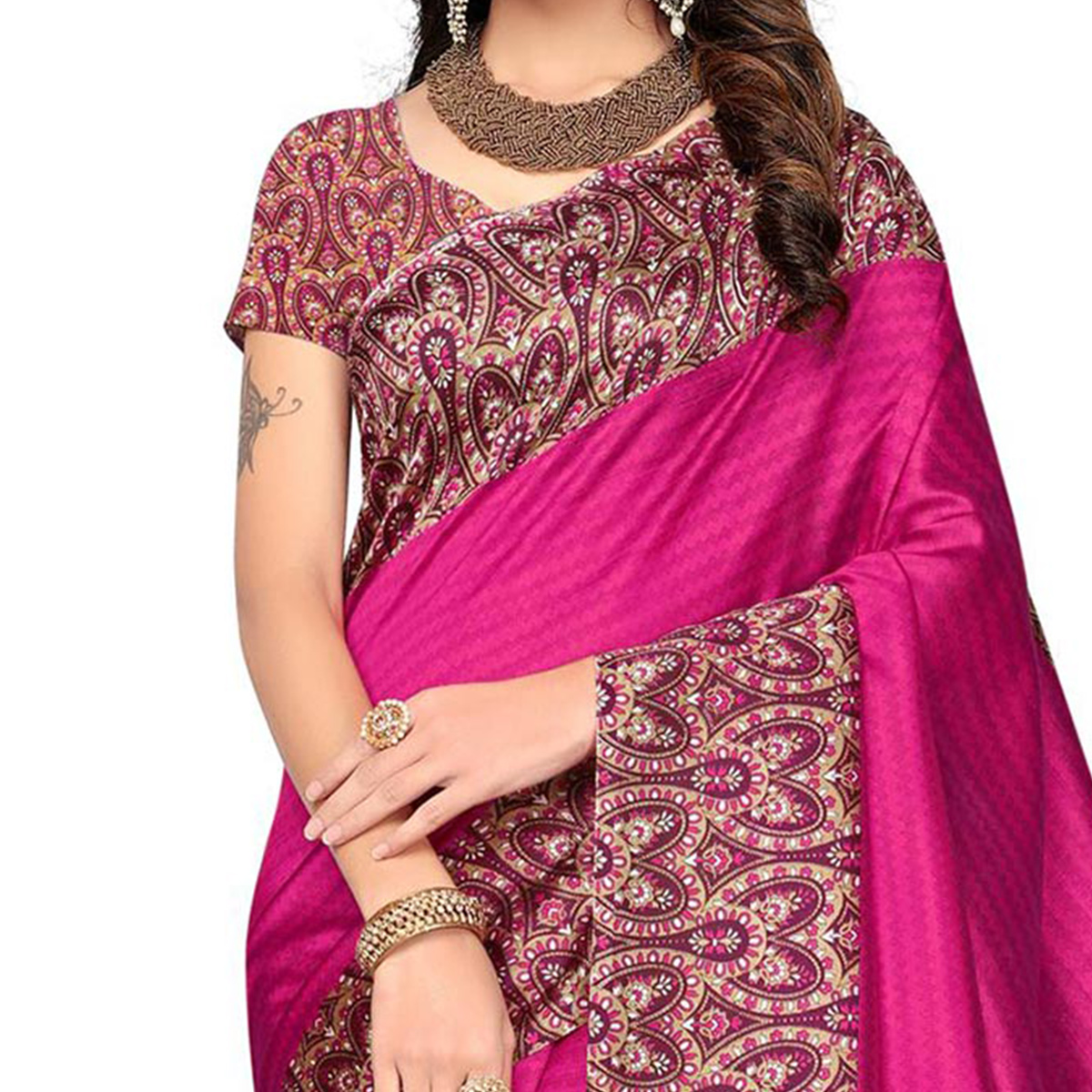 Pink Festive Wear Printed Art Silk Saree