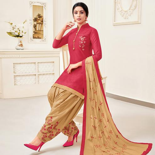 Graceful Pink Colored Partywear Patiala Pure Cotton Silk Dress Material