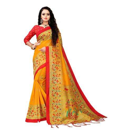 Swara Enterprise - Yellow Art Silk Kalamkari Saree with Blouse