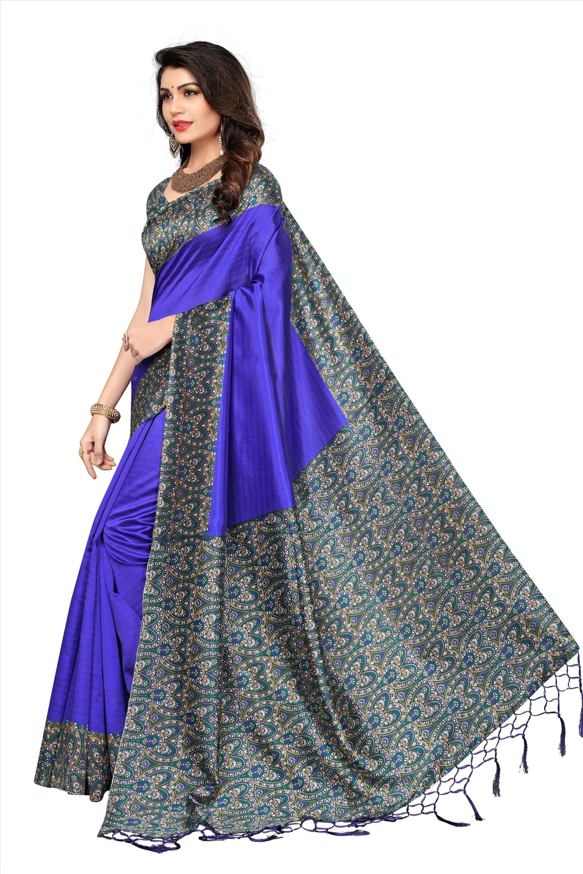 Dark Blue Festive Wear Printed Art Silk Saree