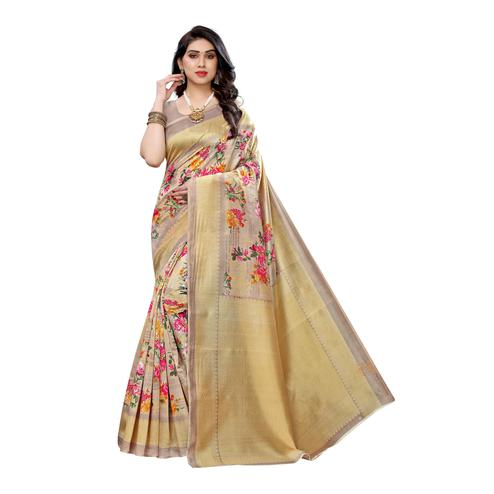 Swara Enterprise - Beige Art Silk Floral Print Saree with Blouse