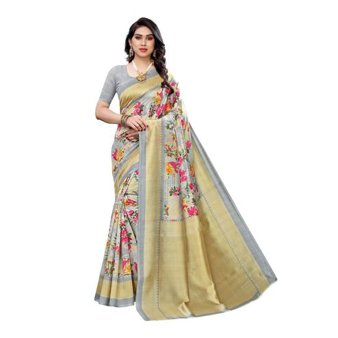 Swara Enterprise - Grey Art Silk Floral Print Saree with Blouse