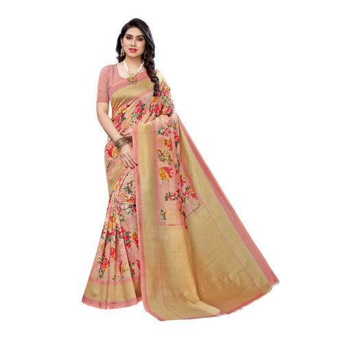 Swara Enterprise - Pink Art Silk Floral Print Saree with Blouse