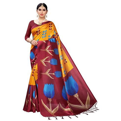 Swara Enterprise - Yellow and Maroon Mysore Art Silk Floral Print Saree With Blouse