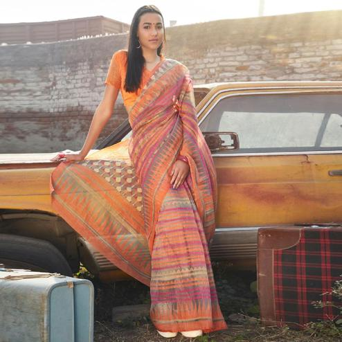 Glorious Peach Colored Casual Wear Printed Soft Cotton Brasso Saree