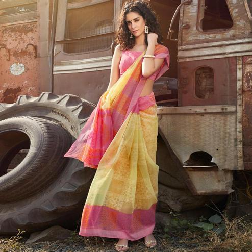 Beautiful Yellow - Pink Colored Casual Wear Printed Soft Cotton Brasso Saree