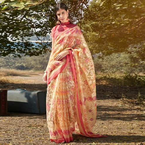 Graceful Beige Colored Casual Wear Printed Soft Cotton Brasso Saree