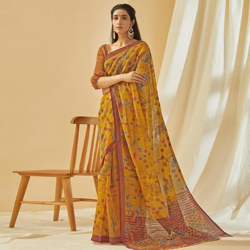 Blooming Mustard Yellow Colored Casual Wear Printed Soft Cotton Brasso Saree