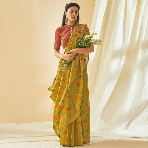 Charming Green Colored Casual Wear Printed Soft Cotton Brasso Saree