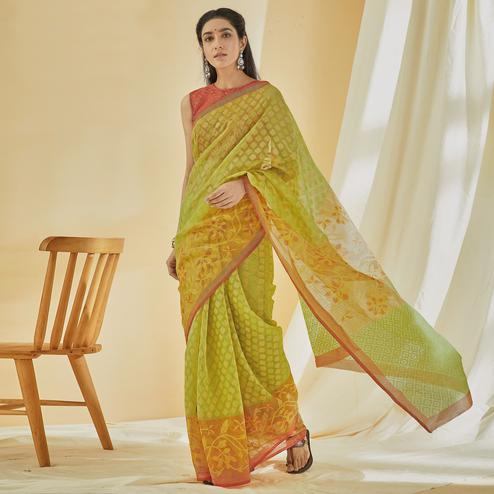 Engrossing Green Colored Casual Wear Printed Soft Cotton Brasso Saree