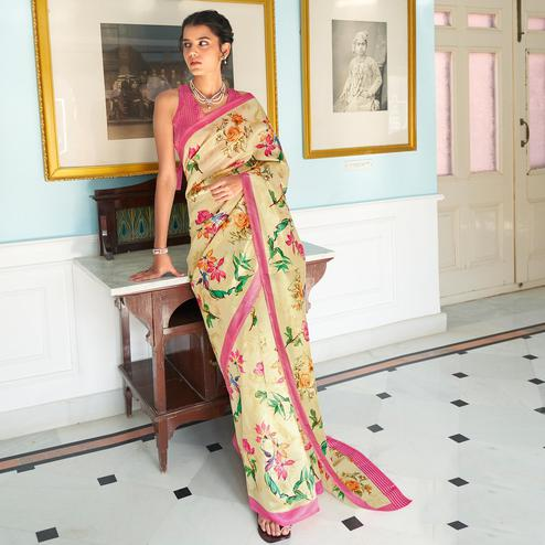 Eye-catching Light Yellow Colored Casual Wear Digital Printed Satin Georgette Saree