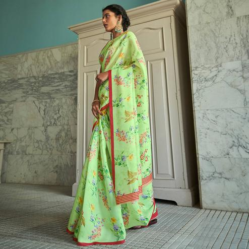 Gorgeous Green Colored Casual Wear Digital Printed Satin Georgette Saree