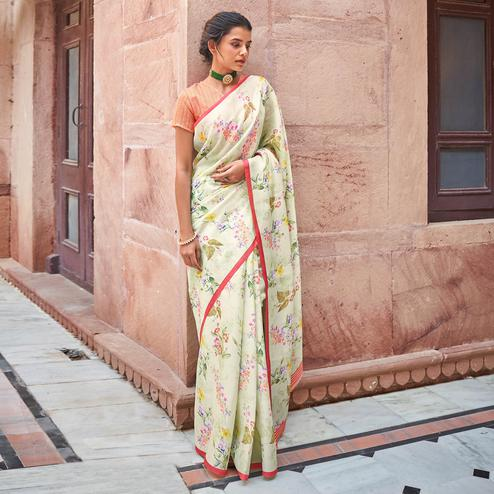 Blissful Pastel Green Colored Casual Wear Digital Printed Satin Georgette Saree