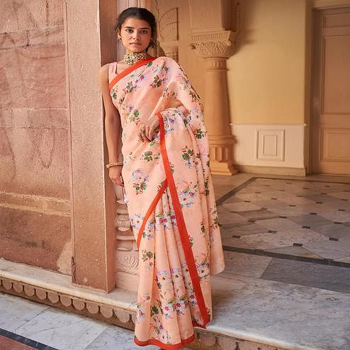 Lovely Pink Colored Casual Wear Digital Printed Satin Georgette Saree