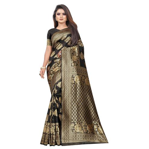 Pleasance Black Colored Festive Wear Woven Lichi Silk Saree