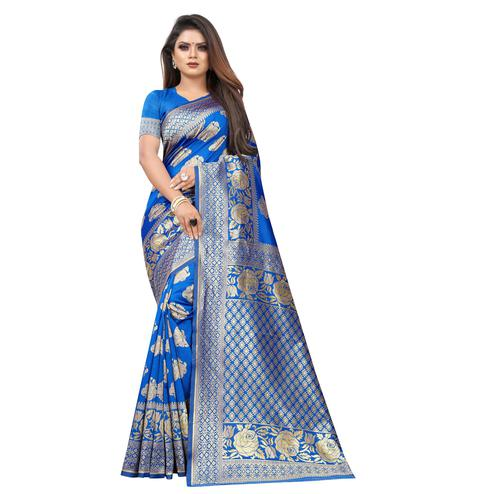 Breathtaking Blue Colored Festive Wear Woven Lichi Silk Saree