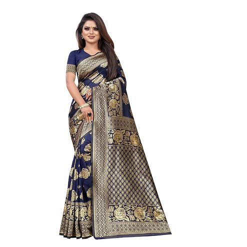 Ravishing Navy Blue Colored Festive Wear Woven Lichi Silk Saree