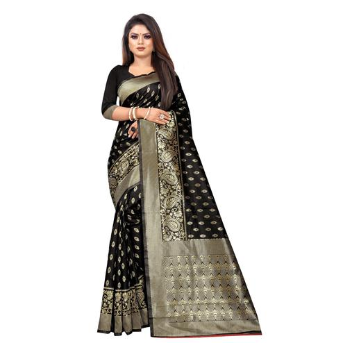Intricate Black Colored Festive Wear Woven Lichi Silk Saree