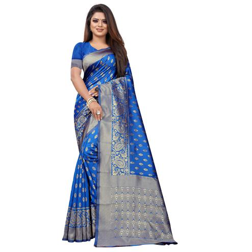 Arresting Blue Colored Festive Wear Woven Lichi Silk Saree