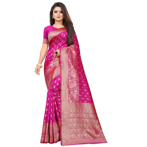Exotic Pink Colored Festive Wear Woven Lichi Silk Saree