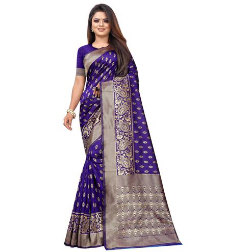 Sophisticated Purple Colored Festive Wear Woven Lichi Silk Saree