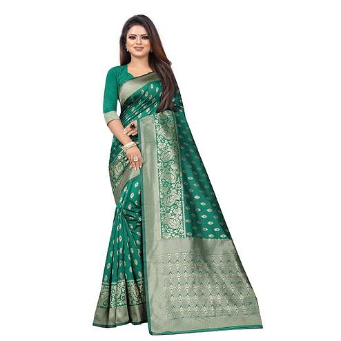 Trendy Rama Colored Festive Wear Woven Lichi Silk Saree
