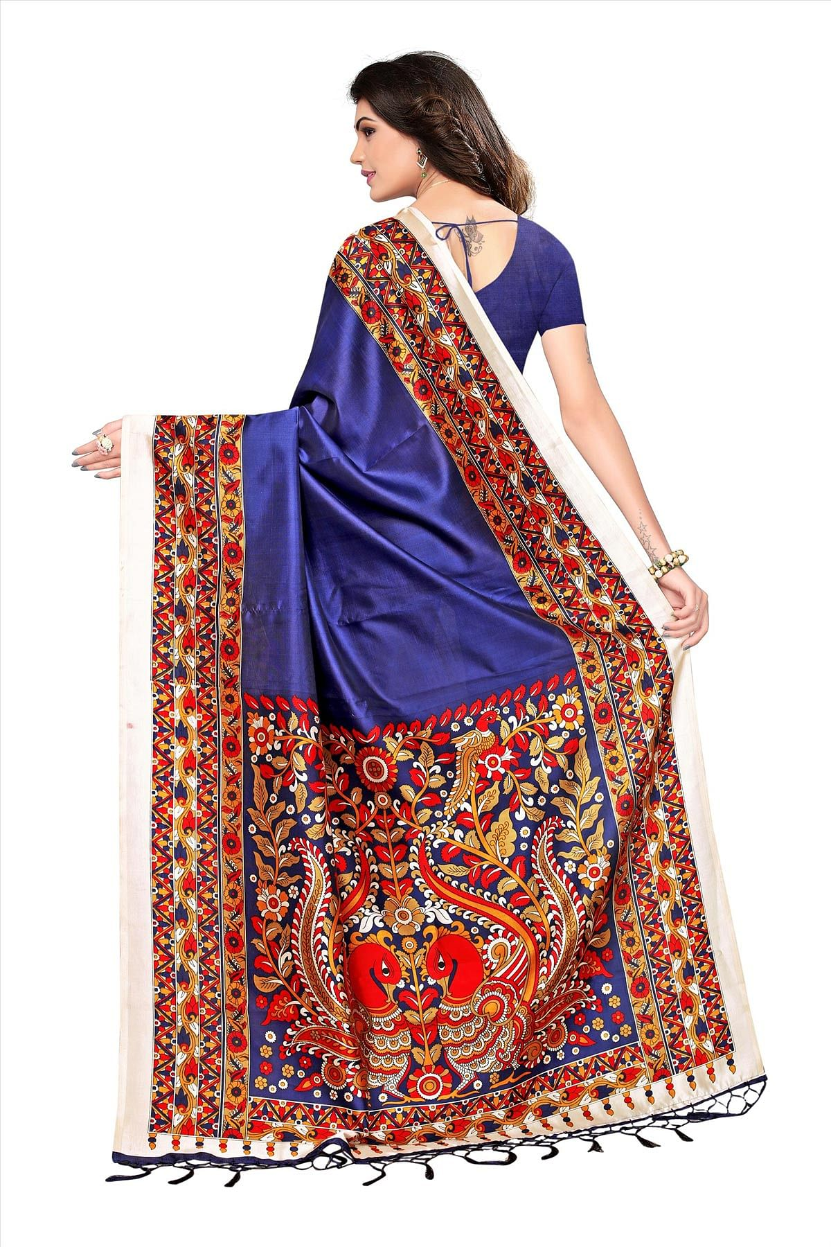 Navy Blue Festive Wear Printed Art Silk Saree