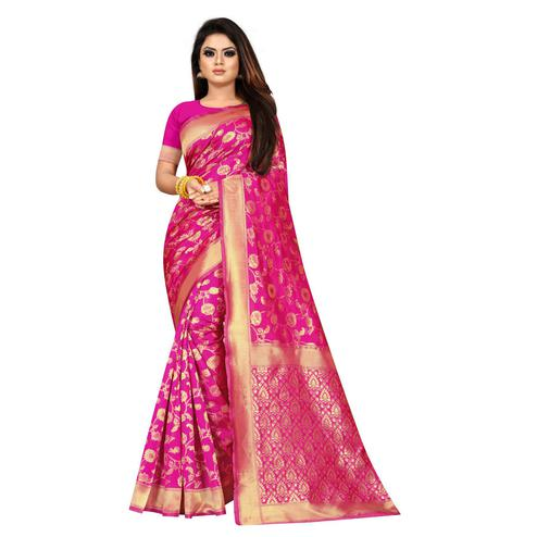 Desirable Pink Colored Festive Wear Woven Lichi Silk Saree