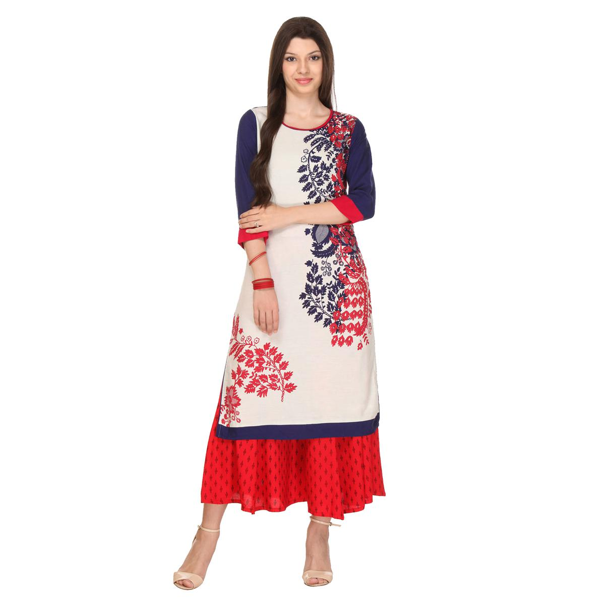 White - Blue Printed Stitched Kurti