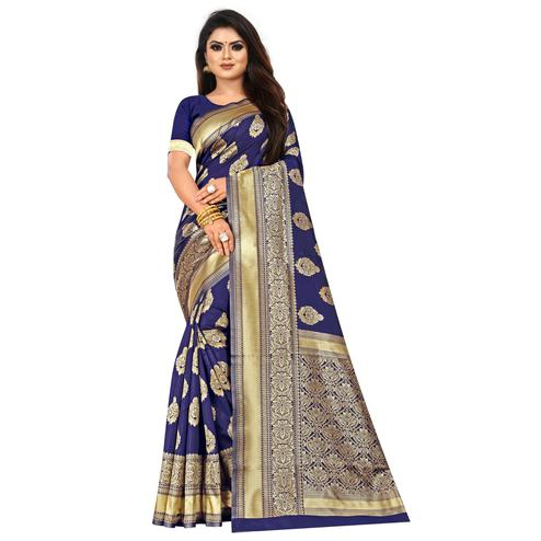 Magnetic Navy Blue Colored Festive Wear Woven Lichi Silk Saree