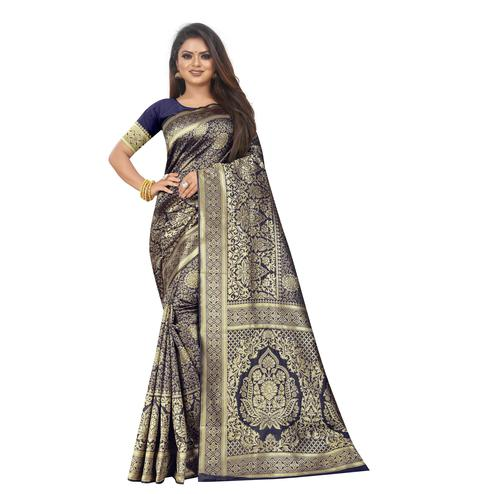 Pretty Navy Blue Colored Festive Wear Woven Lichi Silk Saree