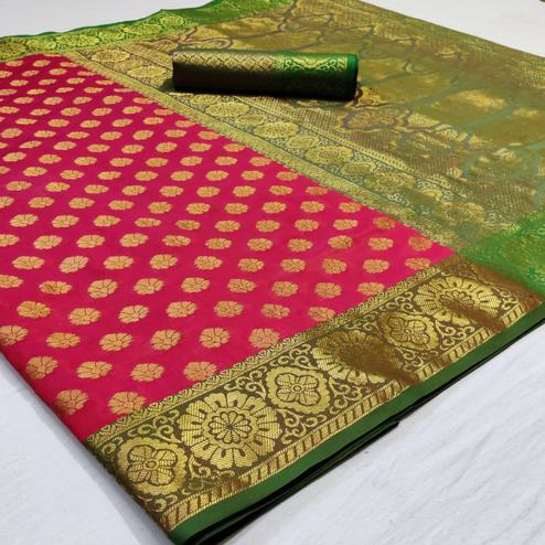 Amazing Pink Colored Festive Wear Woven Heavy Silk Saree