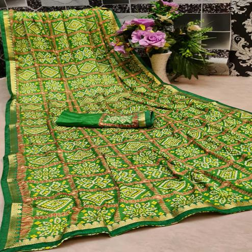 Exclusive Green Colored Festive Wear Woven Moss Georgette Saree