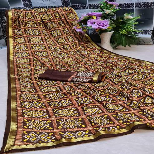 Trendy Brown Colored Festive Wear Woven Moss Georgette Saree