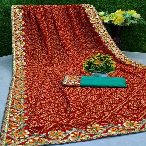 Glowing Red Colored Festive Wear Woven Moss Georgette Saree